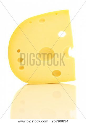 Piece of cheese with holes isolated on white background.