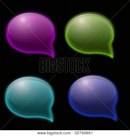Speech bubble on black background.