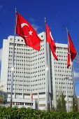 Ankara, Turkey - National flags and Ministry of Foreign Affairs Building in Ankara poster