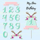 Vector set with Deer headband, numbers, frame. Deer symbols as patch, stick cake topper, sticker, drink topper. Props for baby birth, Deer party, birthday, first birthday, baby shower poster
