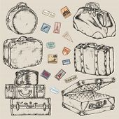 Set of old vintage suitcases and road labels poster
