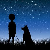 Little boy watching night starry sky poster