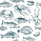 Sketch seafood seamless pattern. Oyster salmon lobster shellfish. Hand drawn seafoods vintage vector background. Vector seafood lobster and salmon, crab and oyster illustration poster