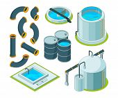Water purification. Treatment watering cleaning system chemical laboratory vector isometric icons. Illustration of purification isometric system, reservoir tank water poster