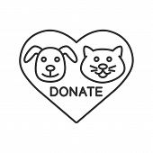 Donation for pets linear icon. Animals welfare. Thin line illustration. Heart with cat and dog snouts inside. Contour symbol. Vector isolated outline drawing poster