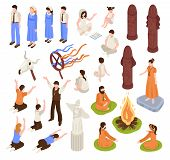Isometric religious cult set with isolated human characters of prayers and prophets with ceremony items vector illustration poster