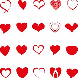 Various Hearts In Red, Hearts Collection, Hearts Icon