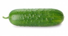 Big Ripe Green Cucumber Isolated On White Background