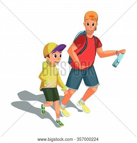 Cartoon Man Boy Running. Family Sport Athletic Activity. Father Son Character Runner. Marathon Run.