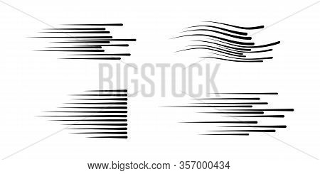 Black Speed Lines For Elements Comic On A White Background. Motion Effect For Your Design. Black Lin