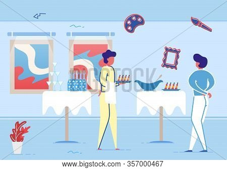 Buffet Table In Art Gallery Flat Cartoon Vector Illustration. Celebration In Luxury Place. Hall Inte