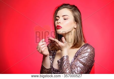 Sweet Kiss. Spread Romantic Mood Around. Air Kiss. Love You So Much. Woman Attractive Kiss Face Send
