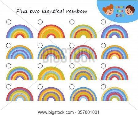 Logic Puzzle Game. Educational Game For Kids Development Of Logic Iq. Find Two Identical Rainbow. Ki