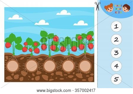 Game For Preschool Children. Educational A Mathematical Game. Garden. Count How Many Strawberries Ar