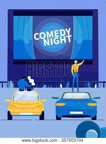 Comedy Movie Night In Open Air Cinema Theater. Summer Movie Festival Show With People Cartoon Charac