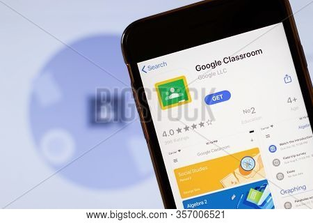 Los Angeles, California, Usa - 24 March 2020: Google Classroom App Logo On Phone Screen Close Up Wit