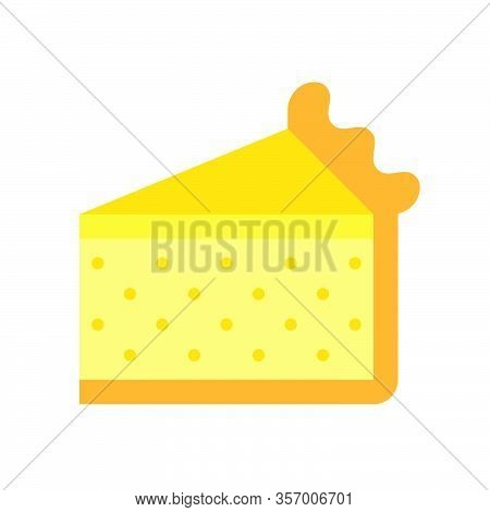 Cheesecake Or Egg Tart Vector Illustration, Flat Design Icon