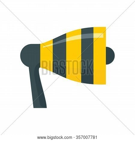 Broadcasting Megaphone Flat Icon. Vector Broadcasting Megaphone In Flat Style Isolated On White Back