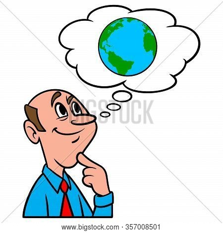 Thinking About Climate Change - A Cartoon Illustration Of A Man Thinking About The Effects Of Climat