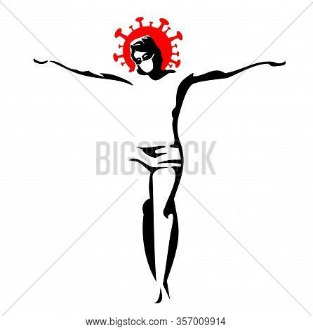 Jesus Christ Crucified In Medical Masks. Color Vector Cartoon Illustration