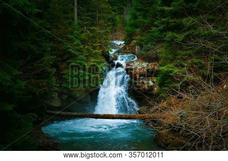 Waterfall Mountain View Close Up. Mountain River Waterfall Landscape. Waterfall River Scene
