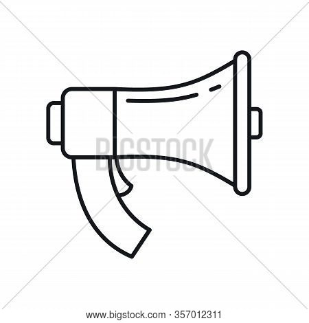 Loudspeaker Megaphone Outline Icon. Vector Loudspeaker Megaphone In Outline Style Isolated On White