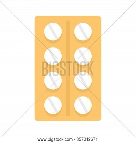 Blister With Pills Flat Icon. Vector Blister With Pills In Flat Style Isolated On White Background.