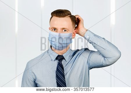 Business Man Think, Man In Blue Shirt And Tie Wearing A Protective Face Mask Prevent Virus Infection