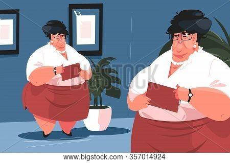 Fat Secretary In Office Vector Illustration. Ugly