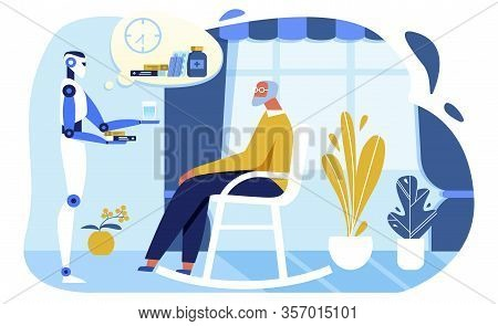 Flat Personal Robot Assistant Gives Pills And Water To Elderly In Rocking Chair. Cartoon Programmed