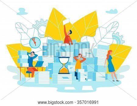 Setting Function For Reminders Cartoon Vector. Office Staff Among Pile Documents. Clock Is Moving To