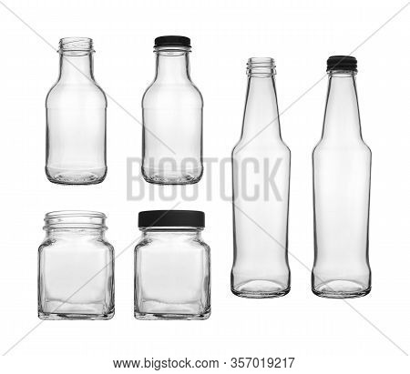 Collection Set Of Empty Transparent Pet Bottle And Jar For Canning And Preserving Isolated On White