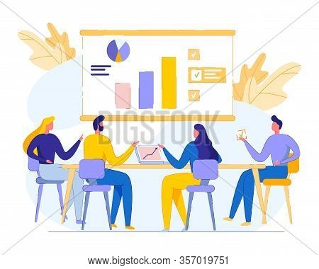 Team Meeting And Discussion Company Performance. Men And Women Sit At Table Study Infographics, Diag
