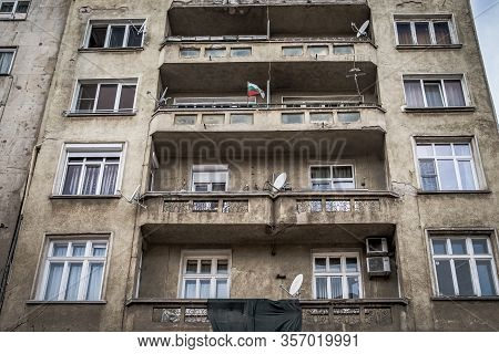 Sofia - February 27, 2020: Prefabricated House In The City On Settlements.