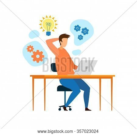 Young Developer, Programmer Working Flat Character. Man Brainstorming, Thinking, Searching Ideas, So