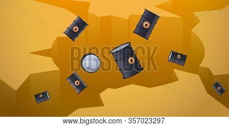 Oil Barrels Falling Down In Hole Abyss Decrease Of Petroleum Costs Crisis Concept Horizontal Vector