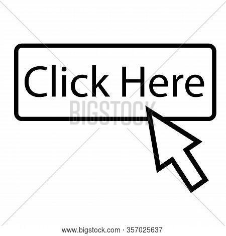 Click Here Icon On White Background. Flat Style. Click Here Icon For Your Web Site Design, Logo, App