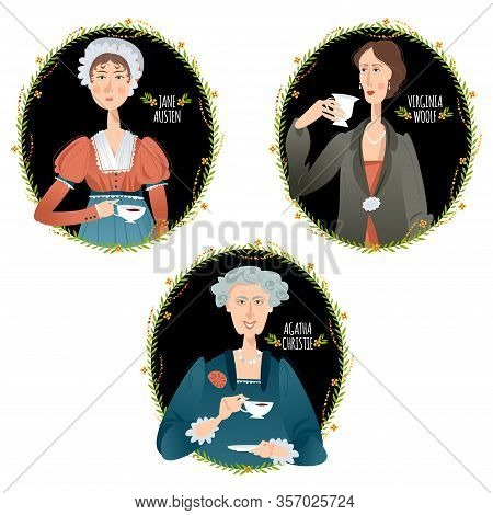 History Of England. Famous English Writers Drinking Tea. Jane Austen, Agatha Christie, Virginia Wool