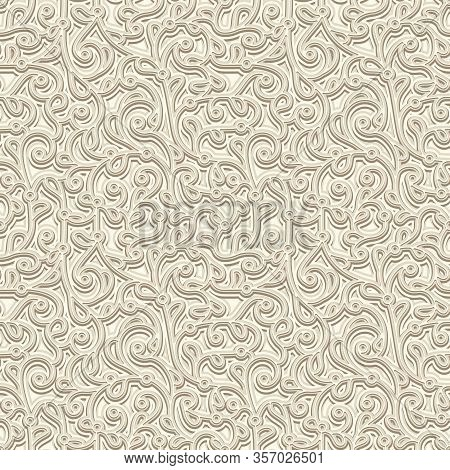 Vintage Beige Seamless Pattern. Embossed Leather Or Paper Texture. Swirly Floral Ornament In Neutral