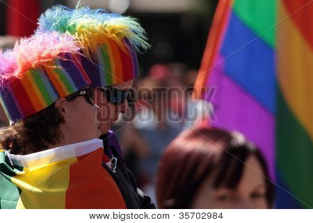 Brisbane, Qld Australia - August 11 : Unidentified People With Gay Rainbow Dress On August 11 2012