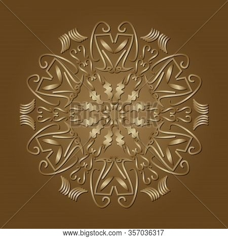 Circle Filigree Ornament In Luxurious Gold Design. Elegant Geometric Patterns With 3d Embossed Effec