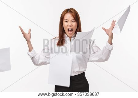 Career, Office Life And Women Concept. Portrait Of Pissed-off Hateful Asian Female In Shirt, Angry W