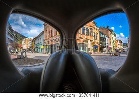 Ruzomberok, Slovakia - March 22: View Through Protective Gas Mask On Empty Town. Corona Virus. Stay