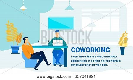 Coworking Office Promotion Flat Banner Template. Modern Workspace, Working Environment Advert Typogr