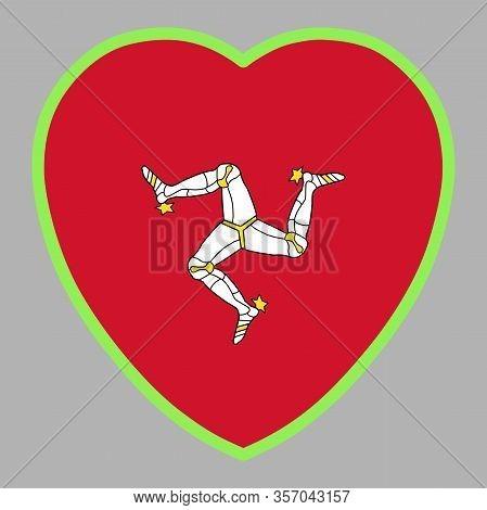 Isle Of Man Flag In Heart Shape Vector Illustration Eps 10