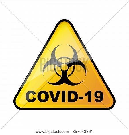 Triangular Biohazard Sign Isolated. Biohazard Coronavirus Sign. No Covid-19 Sign. Vector Illustratio