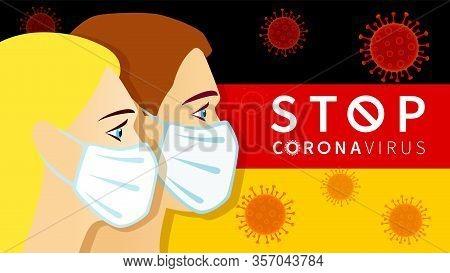 Stop Coronavirus German People In Medical Mask On Germany Flag. Novel Coronavirus (2019-ncov), Virus