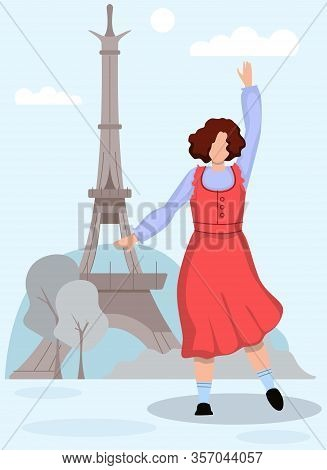 Dancing Woman In Red Sundress On Background Eiffel Tower. Vector Illustration. Tourism Development.