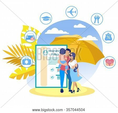 Family Insurance Program Vector Illustration. Travel Insurance Policy. Family With Baby Background P