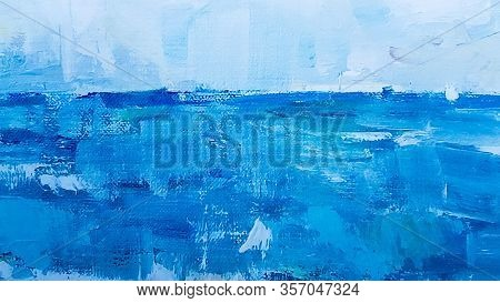Art Detail Blue Abstract Oil Painted Background. Turquoise Oil Paint Texture. Abstract Art Backgroun